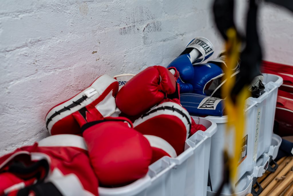 boxing gloves for group sports therapy